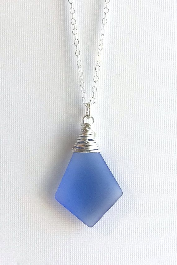 Summer sale 25 off sea glass pendant periwinkle necklace long summer sale 25 off sea glass pendant periwinkle necklace long sterling silver chain wire wrapped sapphire blue beach glass jewelry aloadofball Images
