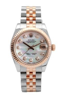 Vintage Rolex Women\u0027s 31mm Two,Tone Stainless Steel Diamond