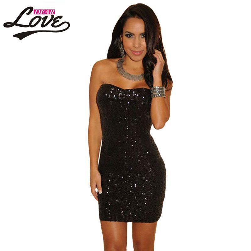 2016 New Black Sequined Strapless Club Dress LC2685 bodycon women dress  party evening elegant vestidos dear c04c2abb222f