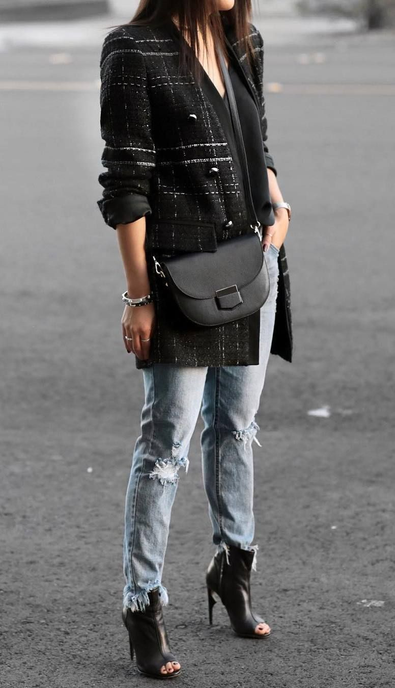 2e6a69f0f what to wear with a crossbody bag   open toe boots + tweed blazer +  boyfriend jeans + black v-neck top