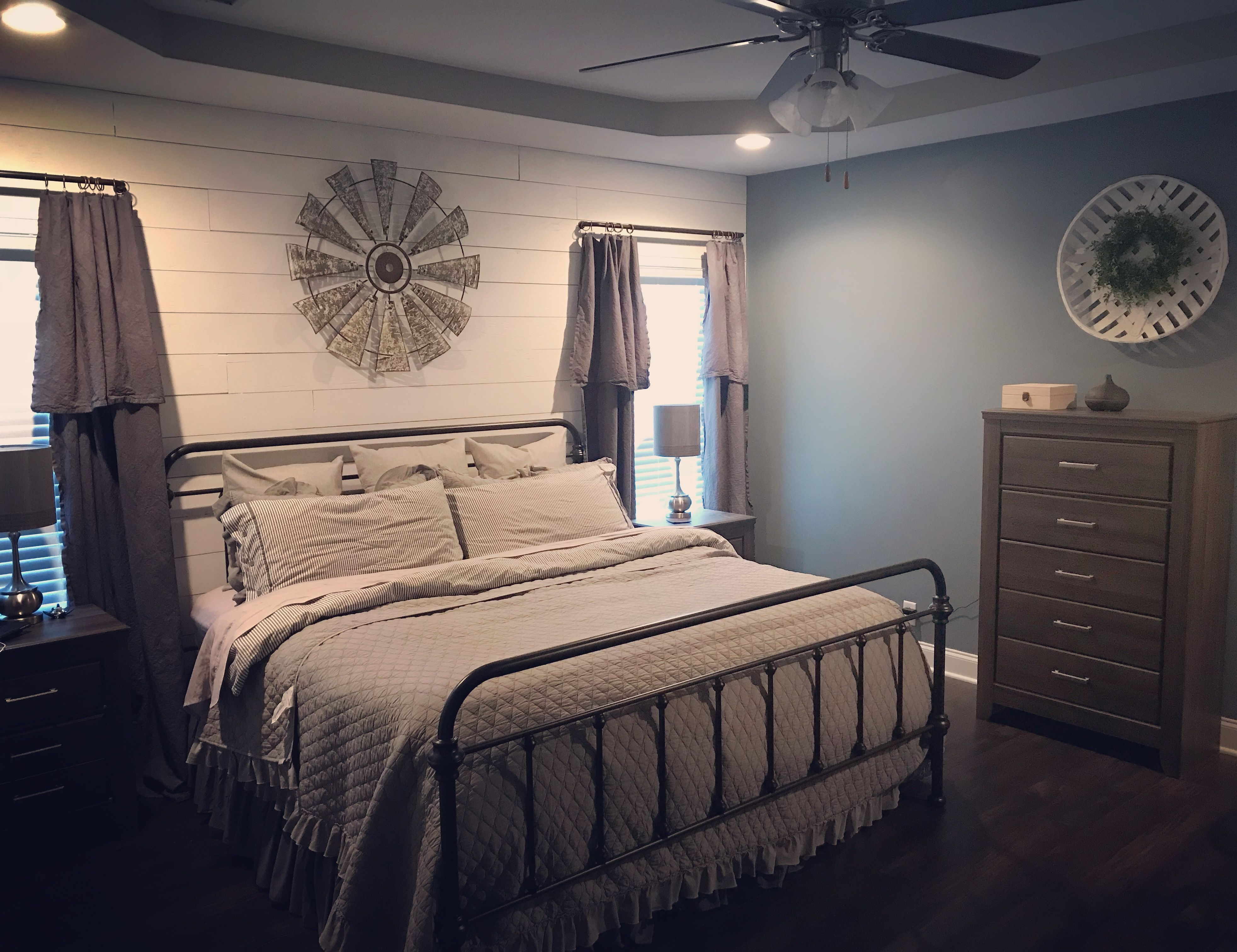 Farmhouse Bedroom With Faux Shiplap Wrought Iron Bed Grey