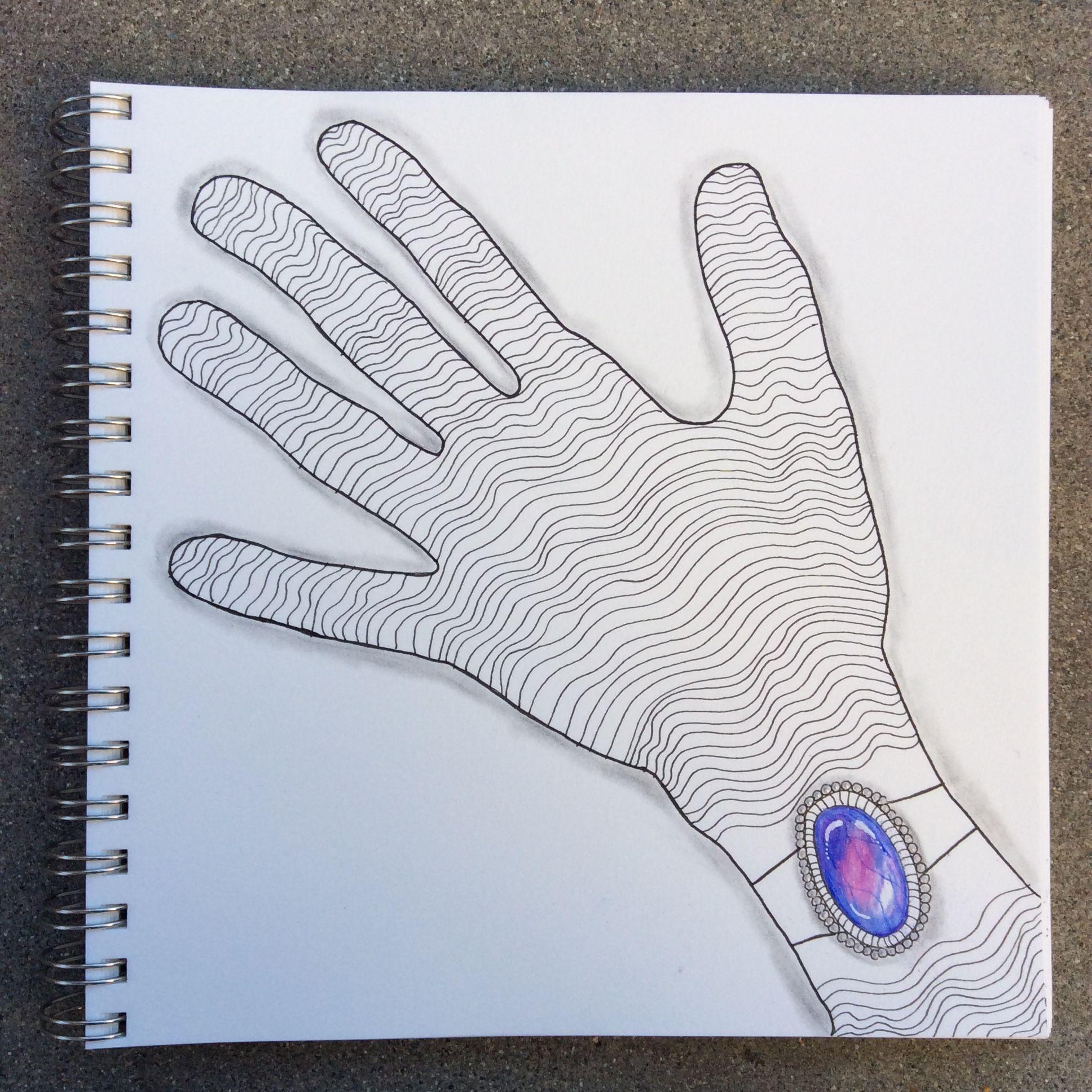 Zentangle gem bracelet and line art of hand by czt nancy domnauer