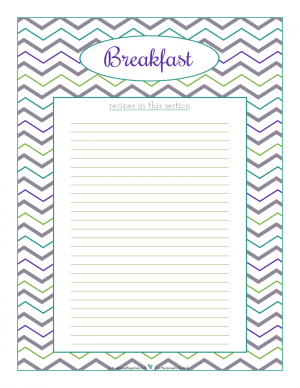 Breakfast section divider for kitchen binder recipes section, inlcuding space to…
