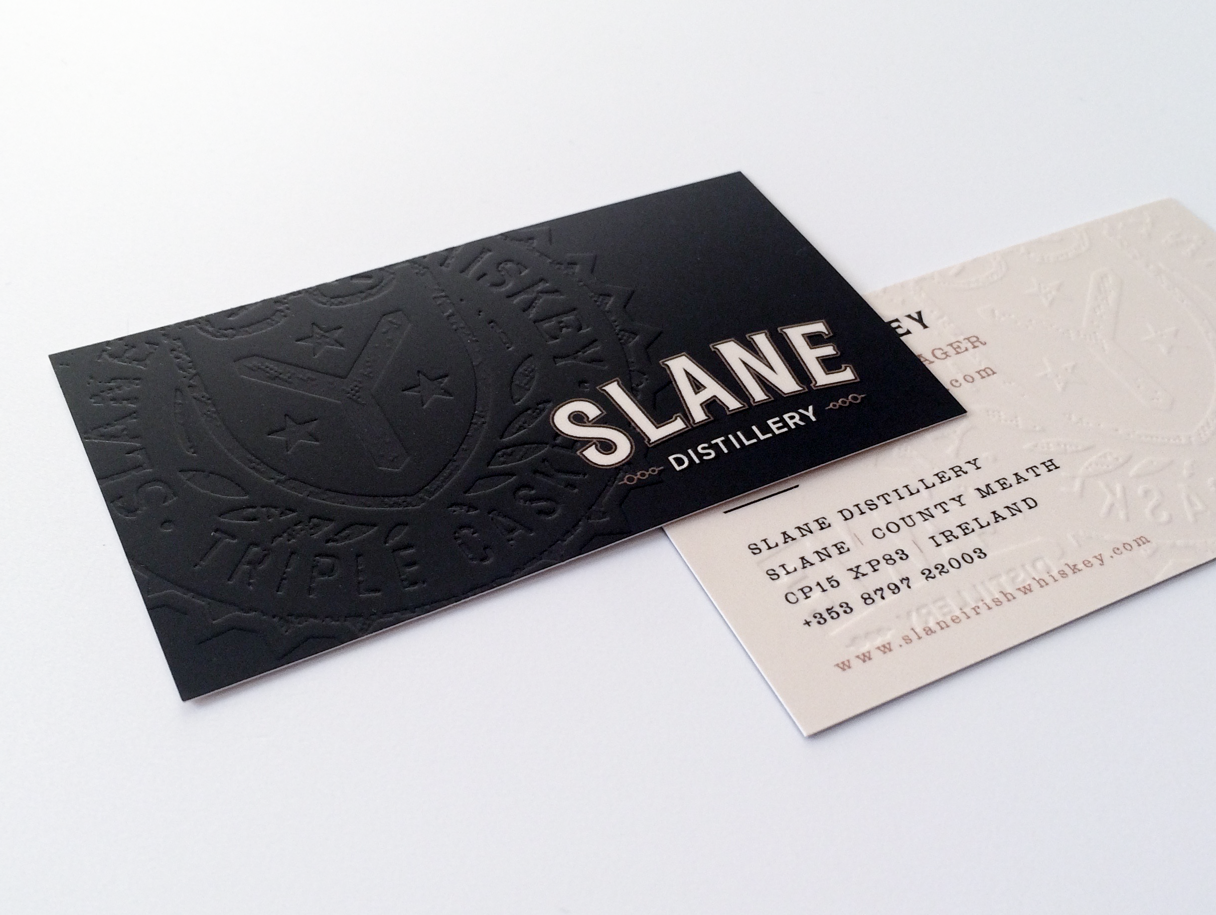 Embossed business card printing for slane distillery we printed embossed business card printing for slane distillery we printed these cards on a heavy silk reheart Images