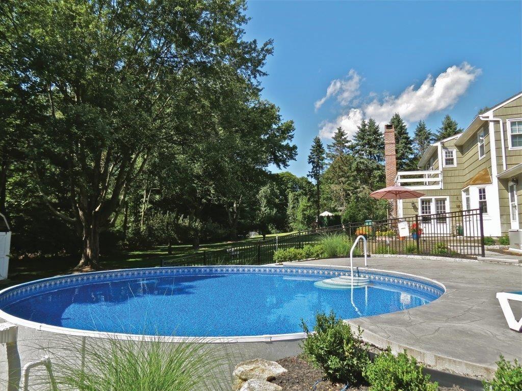 Radiant Pool Semi Inground Pool Landscaping Semi Inground Pools Swimming Pools Backyard