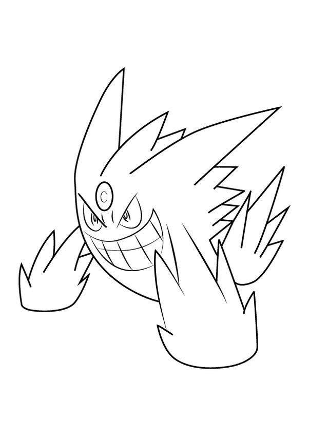 Pokemon mega gengar coloring pages in 2020 | Pokemon ...