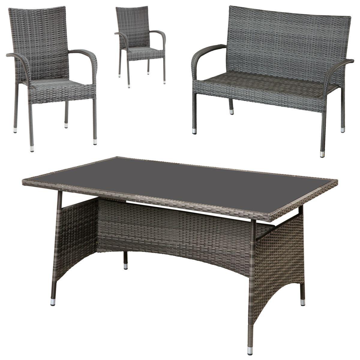 Gartenmöbel-Set Palermo (90x150, 1 Bank, 2 Stühle, grau) Jetzt ...