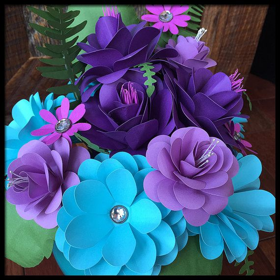 Papel hecho a mano flor de arreglo ramo morado turquesa - Como hacer color turquesa ...
