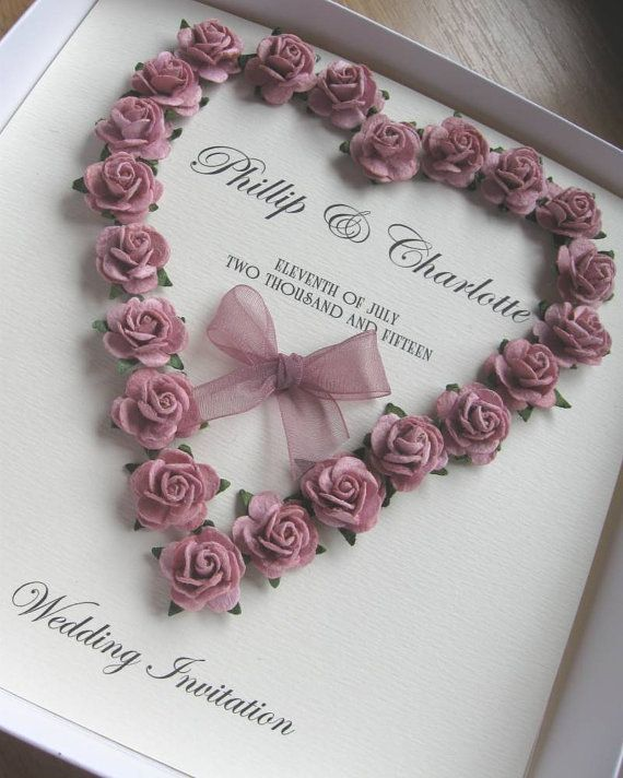 Luxury Mulberry Paper Rose Heart Wedding Invitation от Cherlaan
