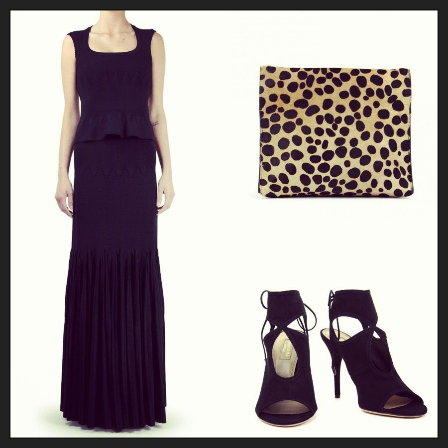 The perfect look for yoursaturday night- Top, skirt and bag by Azzedine Alaia and shoes by Aquazzura- Shop it at railso.com