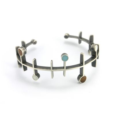 Bracelet | Matthew Smith.  Sterling silver, hardwood and soy-based casting resin