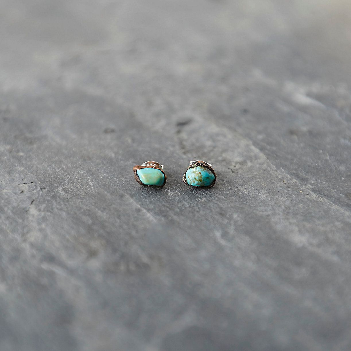 Turquoise Nugget Stud Earrings