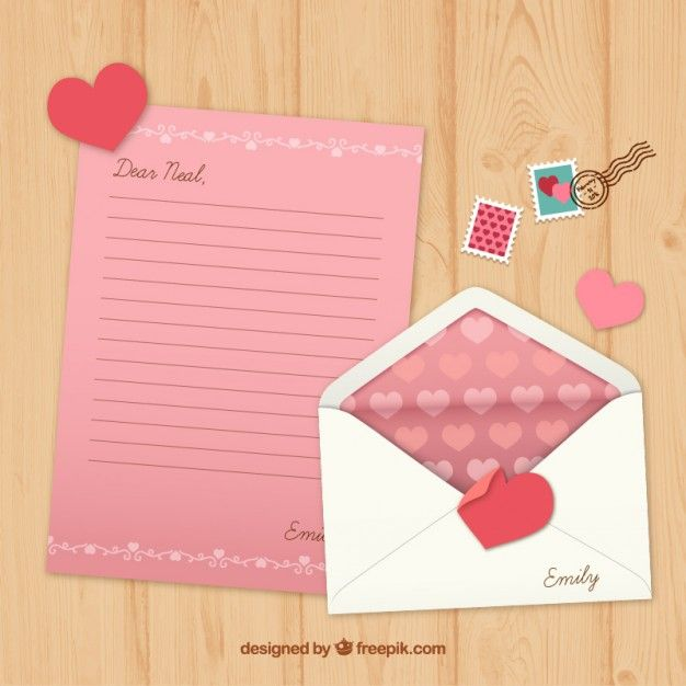Pink valentine letter with stamps Free Vector  My freepik  Pinterest