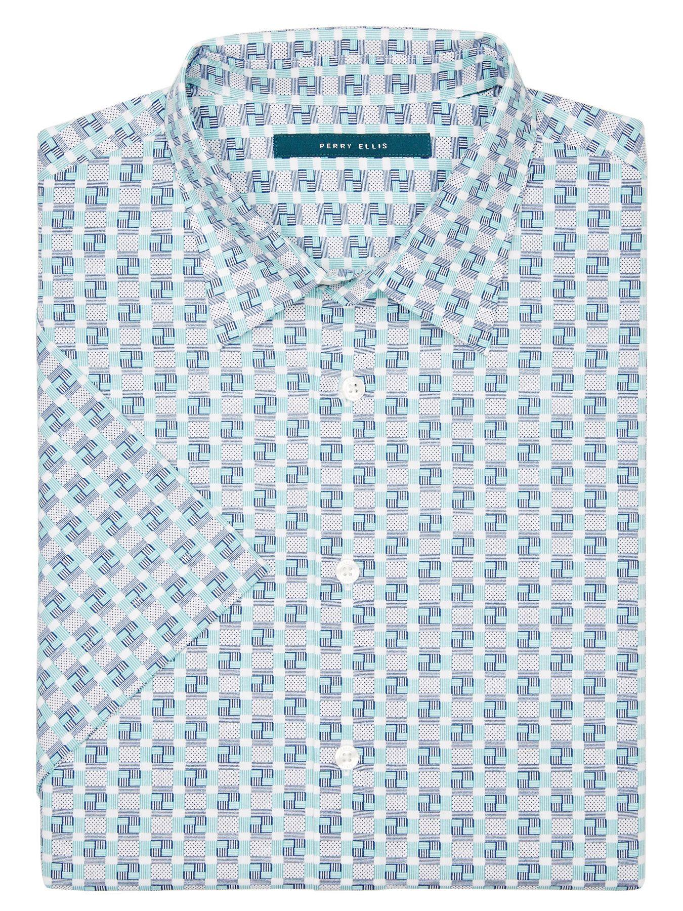Perry ellis big and tall short sleeve patchwork shirt mensshirts