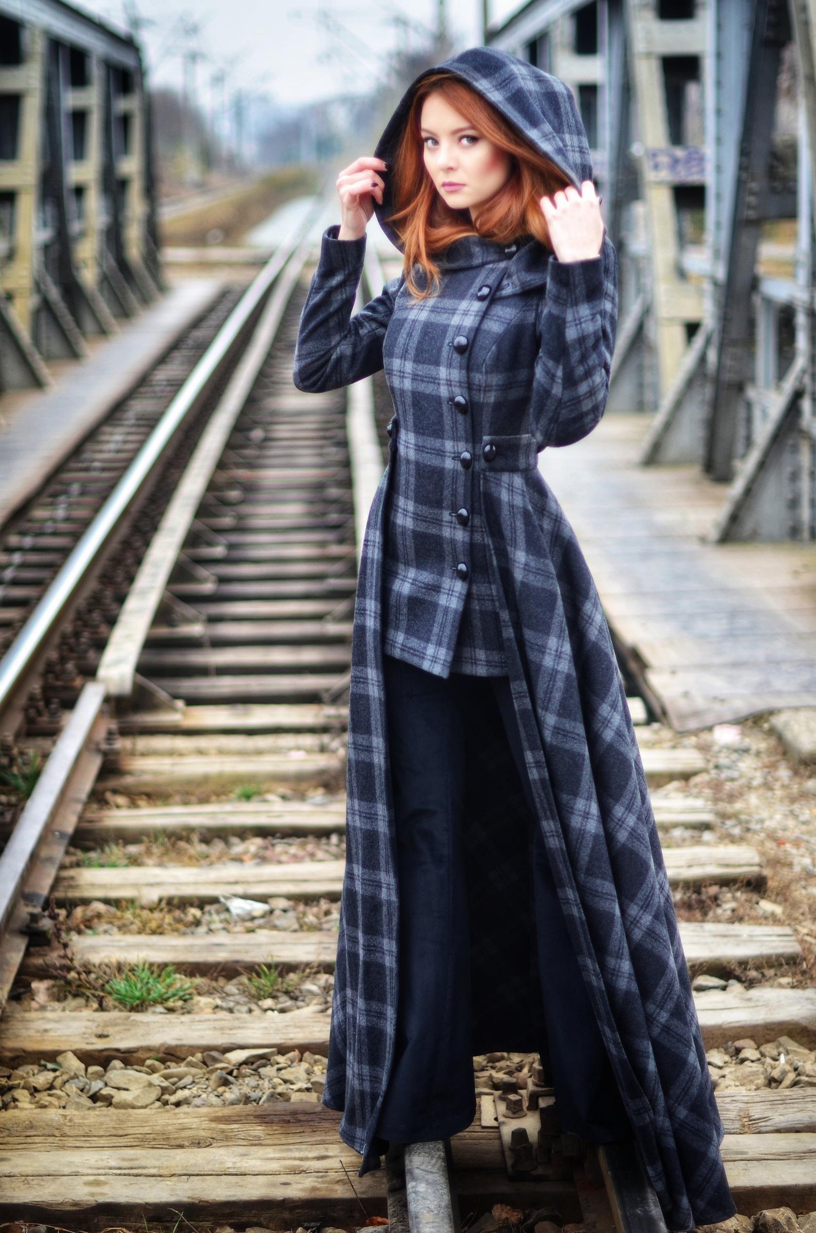 Long Wool Coat with Skirt and Hood, long winter handmade overcoat | Rebecca -   18 style Hijab winter ideas