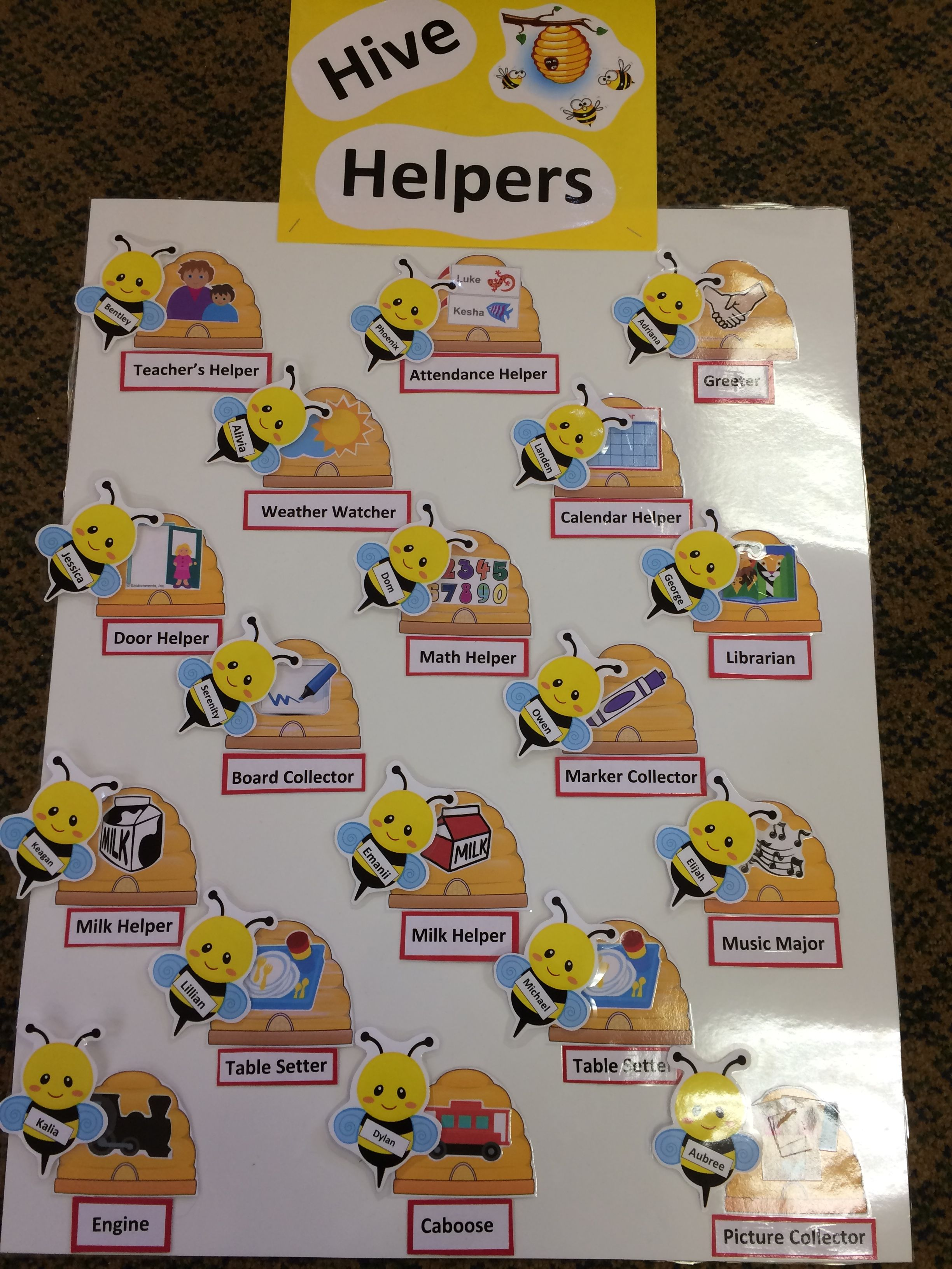 Bumble Bee Themed Job Chart