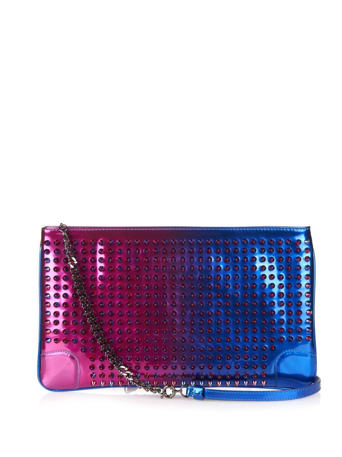 44e5ea94b093 Christian Louboutin Loubiposh Blue   Pink Cross Body Bag Clutch  720.0.  Metallic HandbagsPurple HandbagsLeather ...