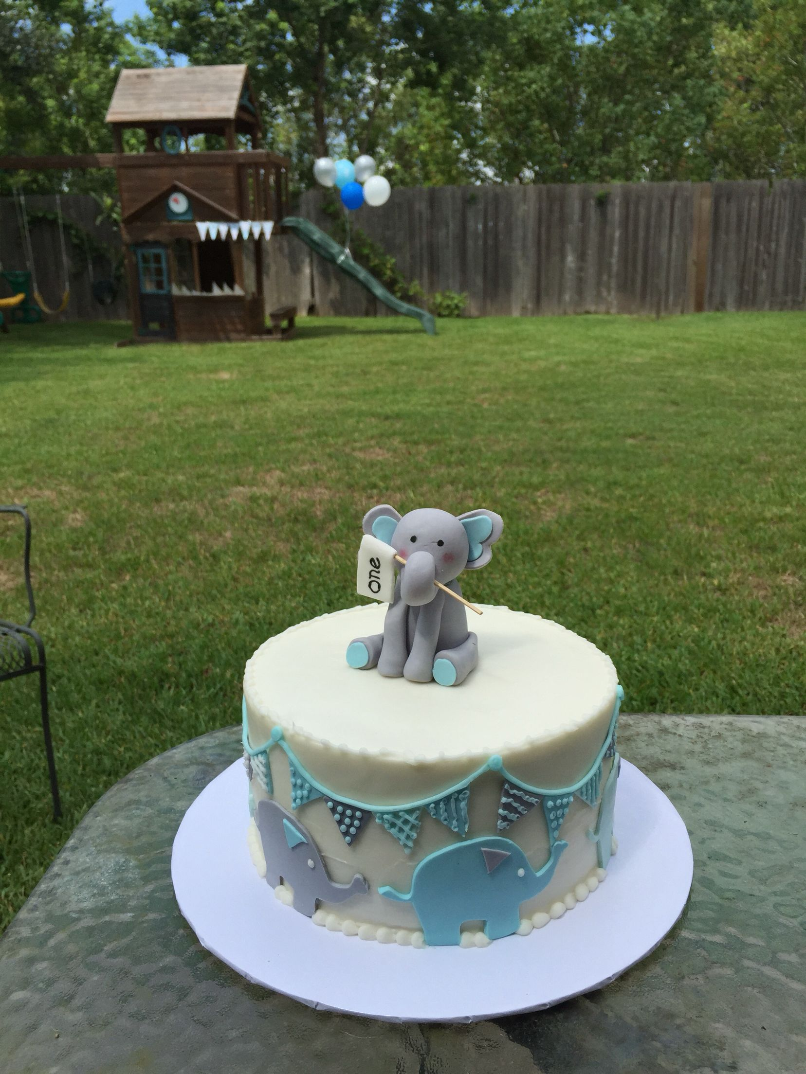 An elephant cake for my baby 1 st birthday 1st birthday