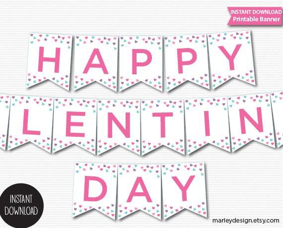 photograph about Valentine Banner Printable identify Valentine Banner Valentines Working day Decor Printable Banner