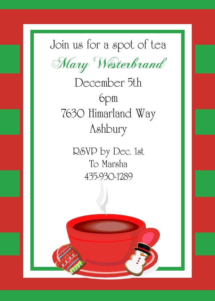 Christmas Tea And Cookie Exchange Party Invitations   LetS
