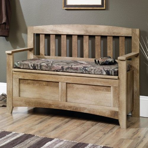The Outdoorsy Sauder East Canyon Storage Bench Brings Nature Inside This Classic Mission Style Wo Storage Bench Seating Indoor Bench Seating Diy Storage Bench