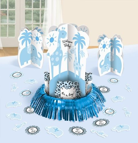 An Adorable Decorative Table Centerpiece Kit For Your Sweet Safari Boy Baby Shower Our 23 P Boy Baby Shower Table Baby Boy Shower Party Baby Boy Centerpieces