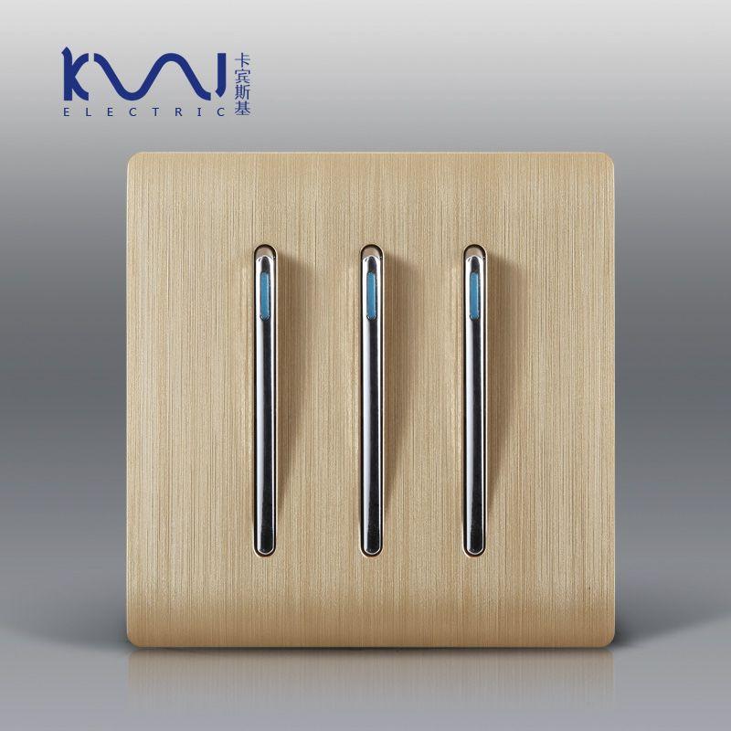 Smart Home,designer Karpinski Wiredrawing PC Panel, 3 Gang 1 Way .