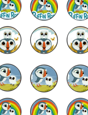 FREE Puffin Rock Birthday Party cupcake toppers, banner, and water ...