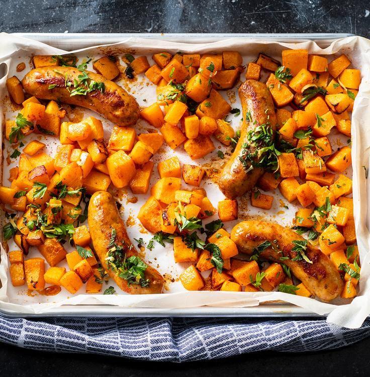 Chicken sausage and squash sheet pan dinner recipe