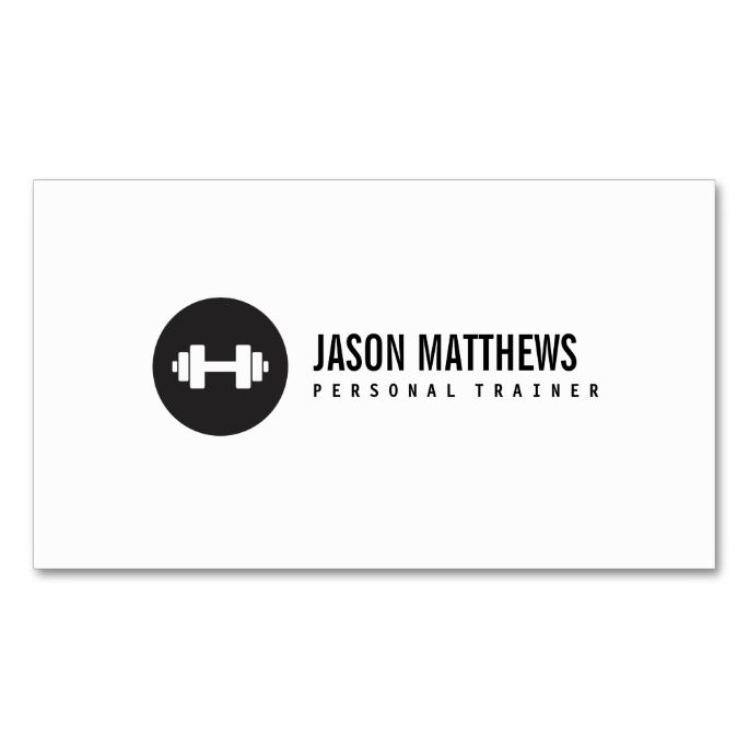 Personal trainer white dumbbell logo fitness business card personal trainer white dumbbell logo fitness double sided standard business cards pack of 100 reheart