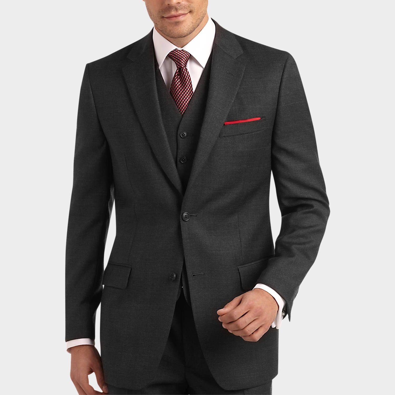 Joseph & Feiss Gold Vested Suit, Charcoal Plaid | Mens ...