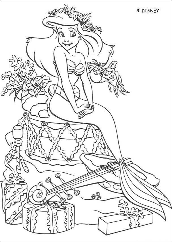 Dibujos para colorear - Princesas Disney (Navidad) | Ariel (The ...