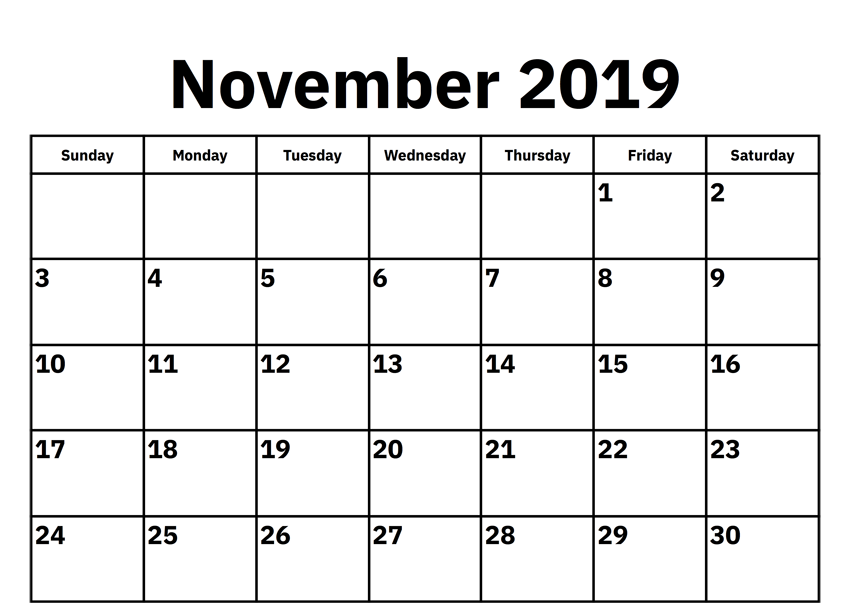 Free Printable November 2019 Calendar September Calendar Calendar 2019 Printable Calendar Word