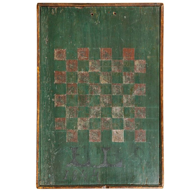 Checkers Game Board  USA  Early to Mid 19th Century