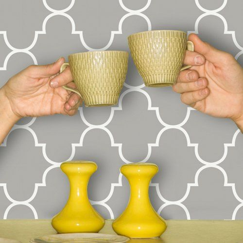 Classic Trellis Print Wallpaper - Silly Putty - Wall Decor at ...