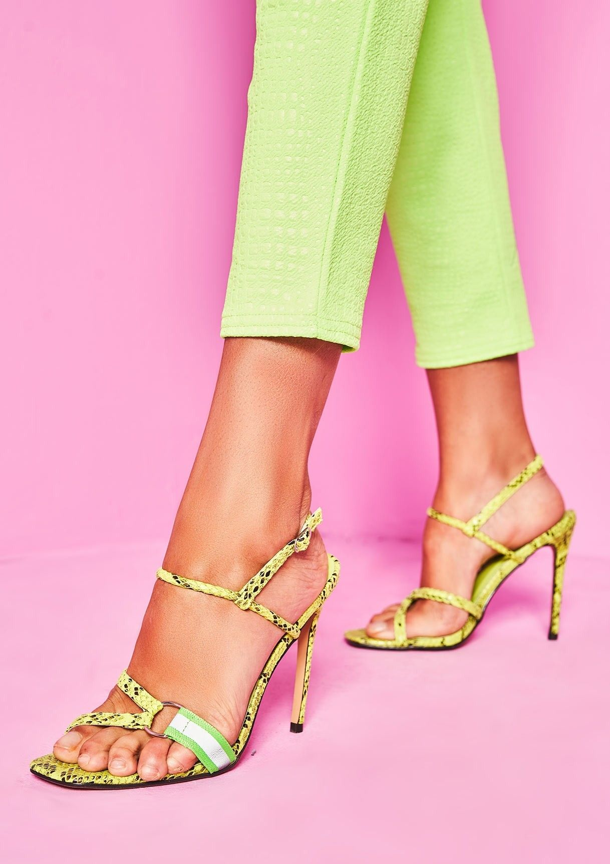 be03c8c9cb500 Zara Lime Green Snake Print Strappy Heels in 2019 | ⚡ comin' in ...