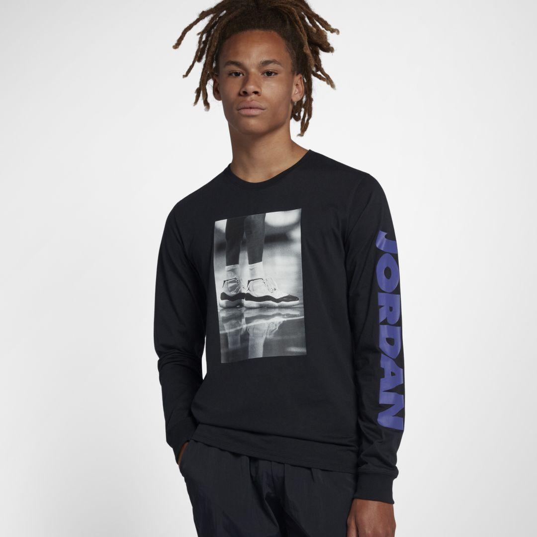 1c5db4a668bb9e Jordan AJ 11 Legacy Photo Men s Long-Sleeve T-Shirt Size 2XL (Black ...