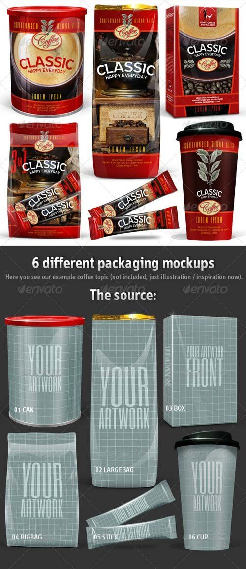 Graphicriver 6 Coffee Packaging Mockups Packaging Mockup Coffee Packaging Mockup
