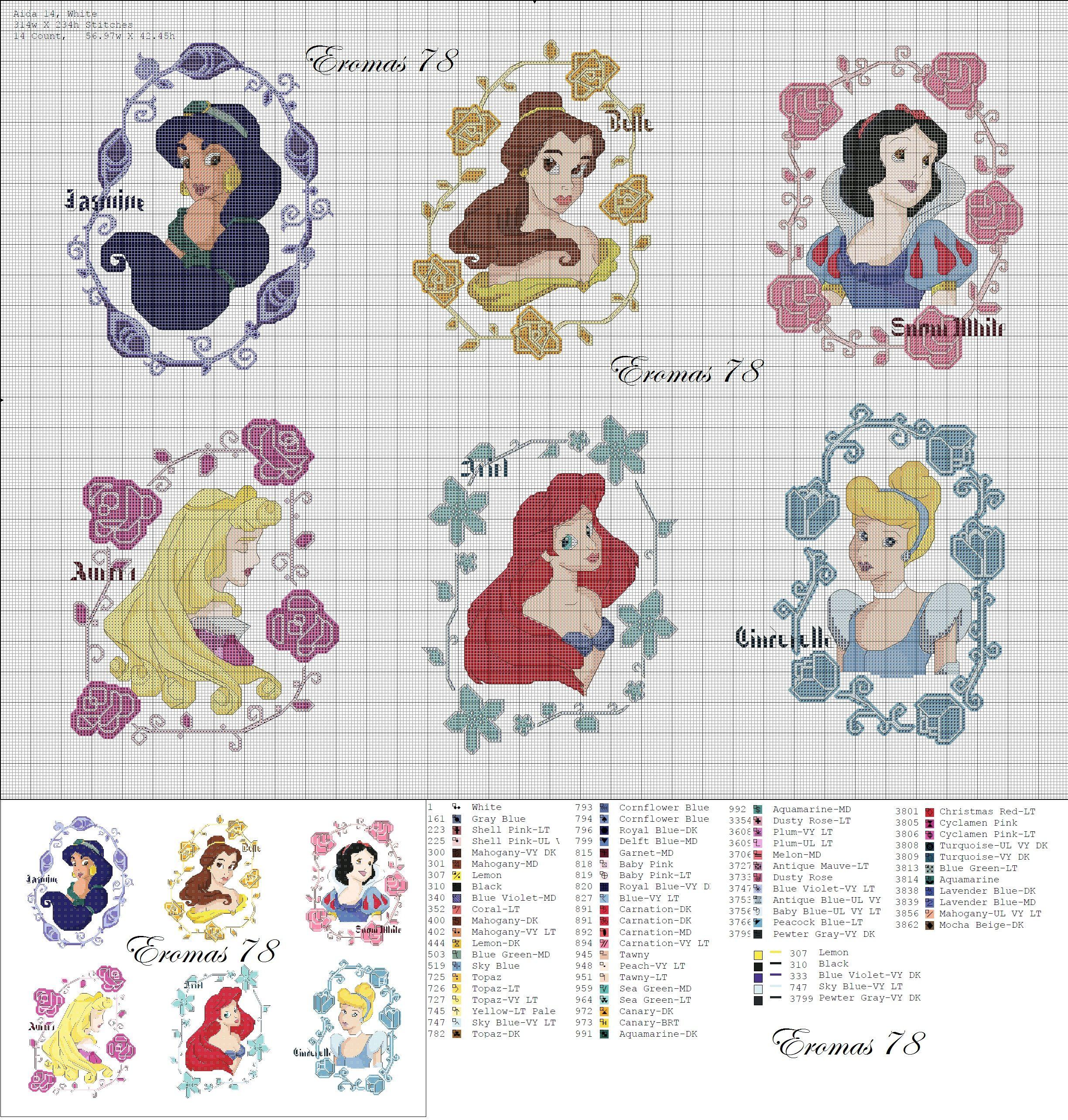 Disney Princess cross stitch portraits | kruisie steek | Pinterest ...