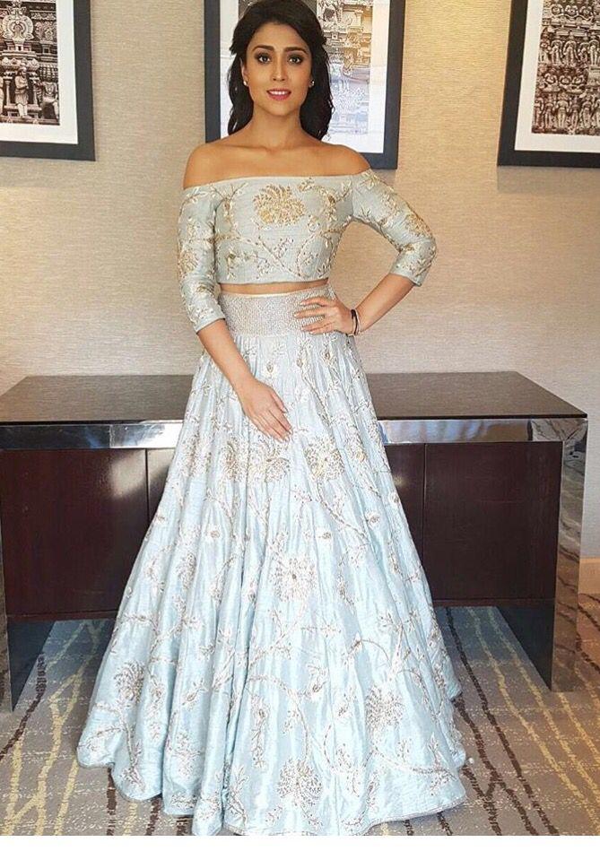 Shreya Saran in a matching crop top and lehenga skirt | Wedding ...
