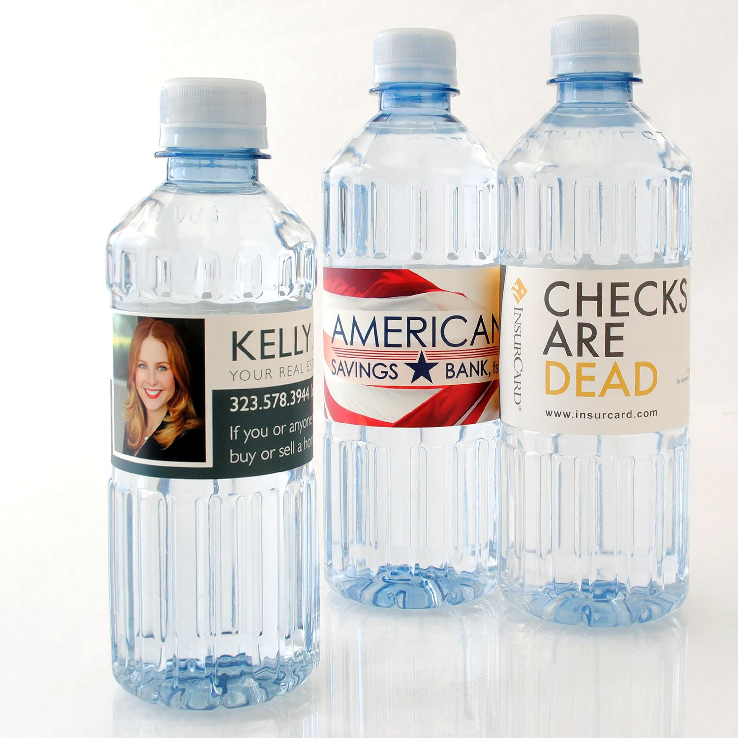Real Estate Agents And Bankers Can Design And Order Their Own Custom Labeled Bottled Water Promotion Brandi Water Bottle Labels Wedding Bottle Custom Labels