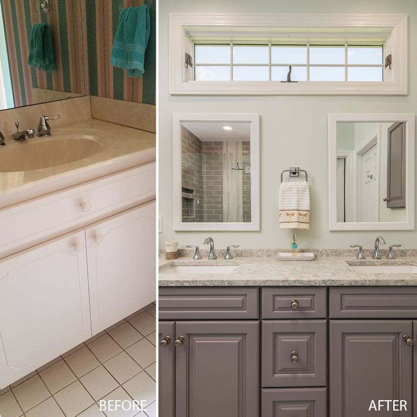 Wow This Beautiful Bath Remodel Was Designed By Jennifer Hines Of Creekside Cabinets New Bern Nc Painting Bathroom Cabinets Cabinet Doors Bath Inspiration