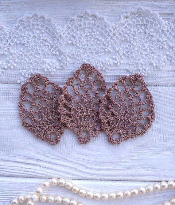 3 crochet elements. Crochet leaf. Crochet lace. Crochet applique. Brown lace. Crochet leaf #crochetelements 3 crochet elements. Crochet leaf. Crochet lace. Crochet applique. Brown lace. Crochet leaf #crochetelements
