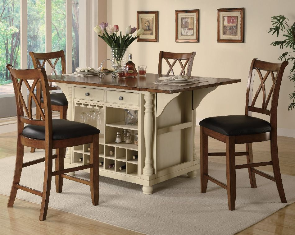 Coaster 5 Piece Kitchen Island Set in Buttermilk & Cherry ...