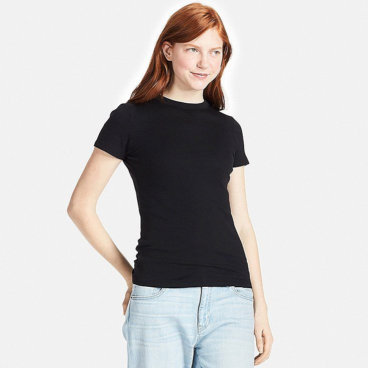 ee458c4e006f WOMEN Supima® COTTON RIBBED CREW NECK SHORT SLEEVE T-SHIRT, BLACK