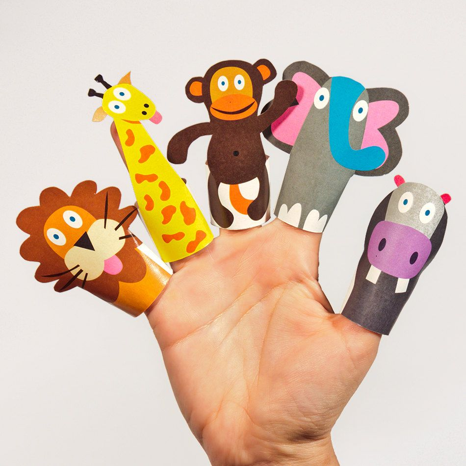 jungle animals paper finger puppets - printable pdf toy - diy craft