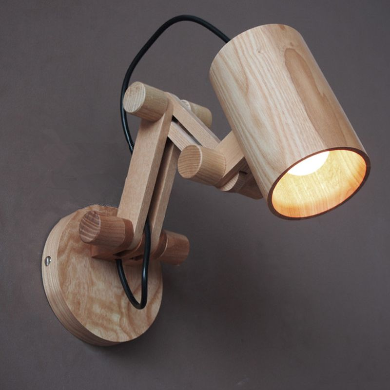 Low Prices Modern Oak Wooden Wall Lamp Bedroom Reading Lights ...