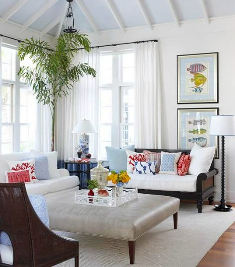 Neutral Coastal Living Room With Pops Of Color