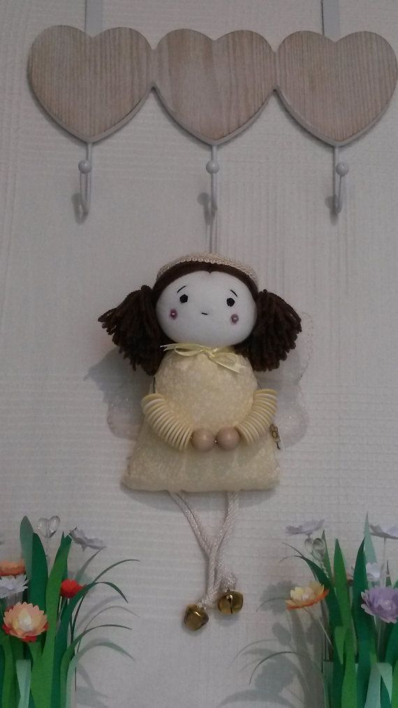 Squeaky Angel fabric doll, handmade hanging ornament, collectable heirloom, decorative gift