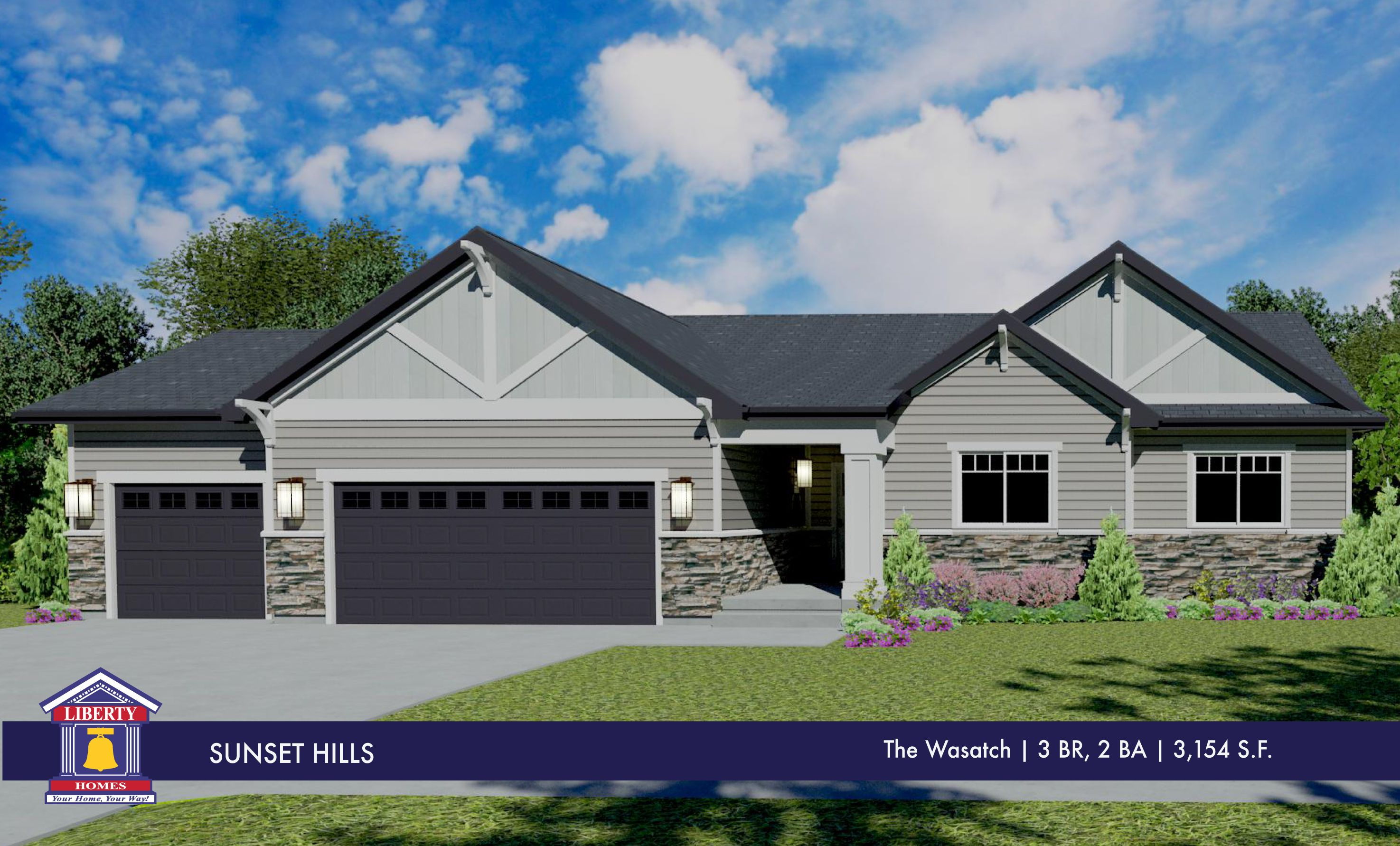 Liberty Homes Wasatch Floor Plan Rambler Style Home